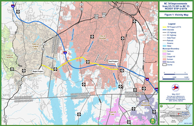 Map of NC 54 improvement project